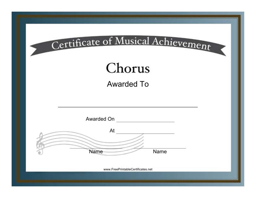 """Chorus Award Certificate Template"" Download Pdf"