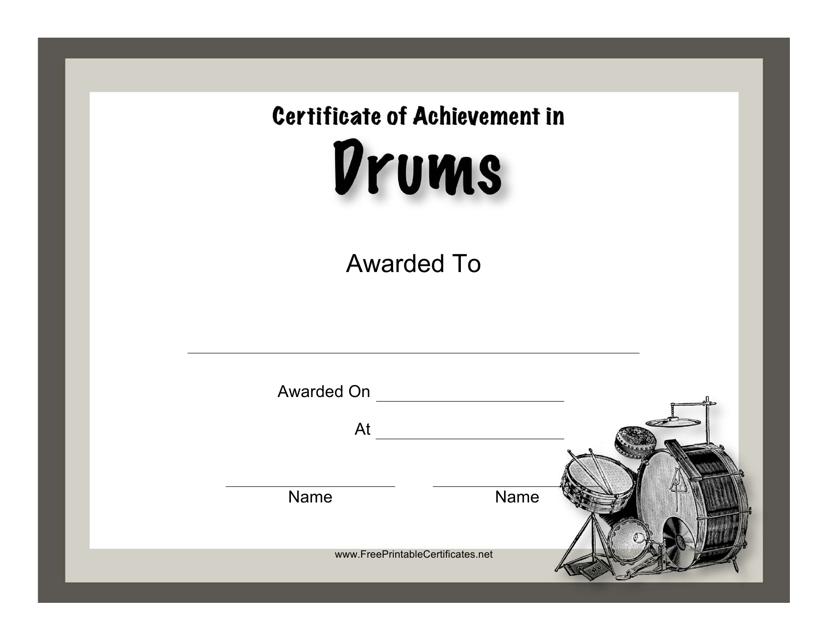 """Drums Award Certificate Template"" Download Pdf"
