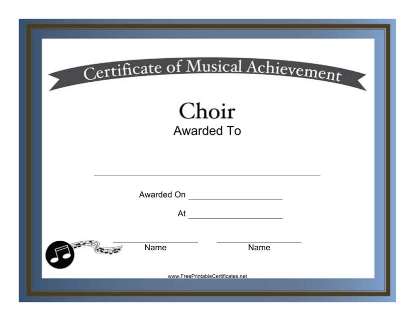 """Choir Certificate of Achievement Template"" Download Pdf"