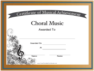 """Choral Music Certificate of Achievement Template"""