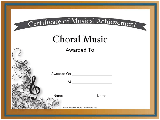 Choral Music Certificate of Achievement Template Download Printable