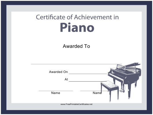 """Piano Certificate of Achievement Template"" Download Pdf"