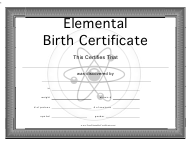 Elemental Birth Certificate Template