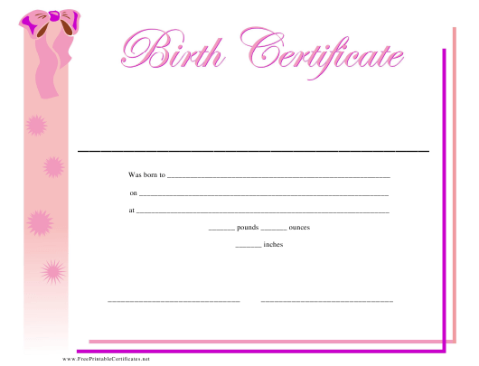 """Birth Certificate Template for Girls"" Download Pdf"
