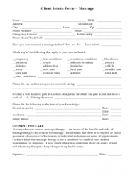 Massage Client Intake Form