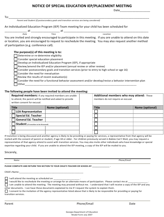 """""""Notice of Special Education Iep/Placement Meeting"""" - Georgia (United States) Download Pdf"""