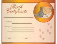 Birth Certificate Template for Kitten