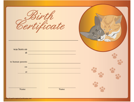 """""""Birth Certificate Template for Kitten"""" Download Pdf"""