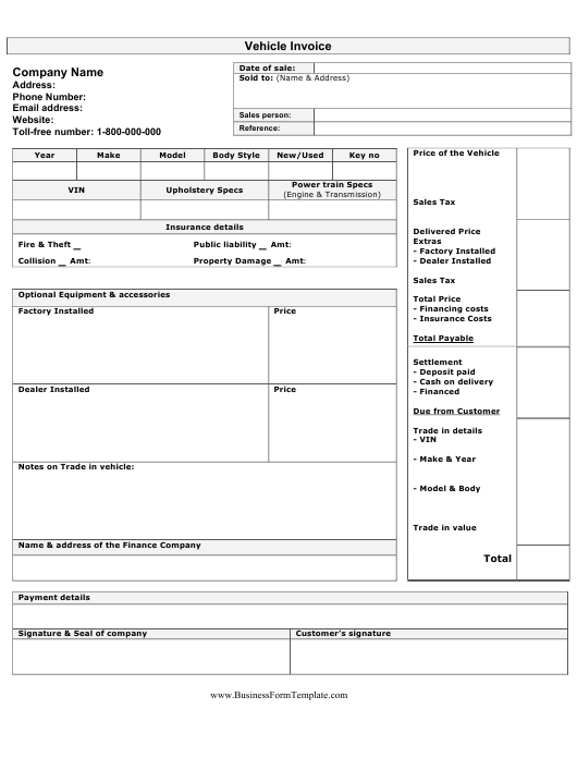 """""""Vehicle Invoice Template"""" Download Pdf"""