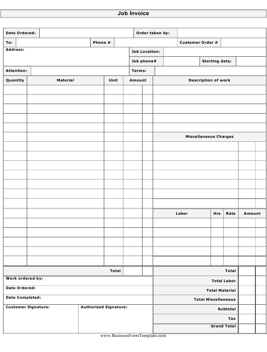 Job Invoice Template Download Pdf