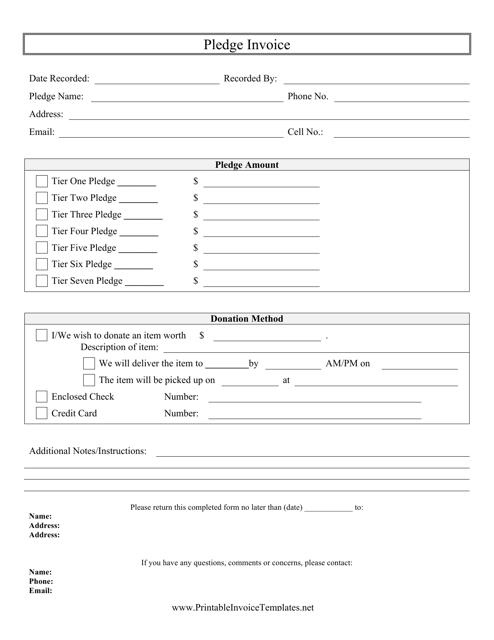 """""""Pledge Invoice Template"""" Download Pdf"""