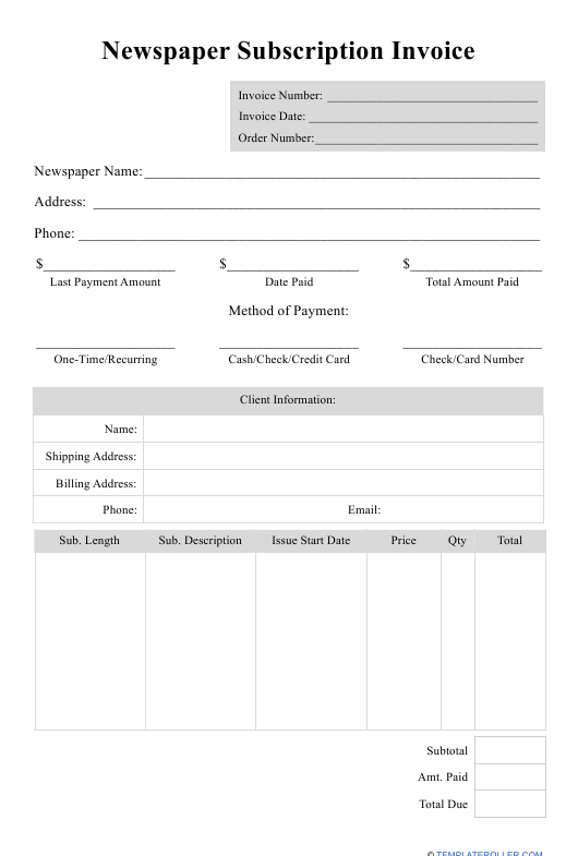 """""""Newspaper Subscription Invoice Template"""" Download Pdf"""
