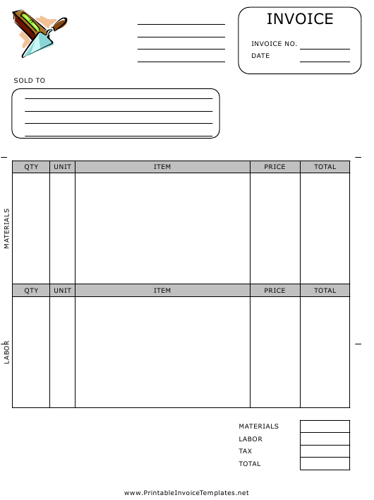 """Bricklayer Invoice Template"" Download Pdf"