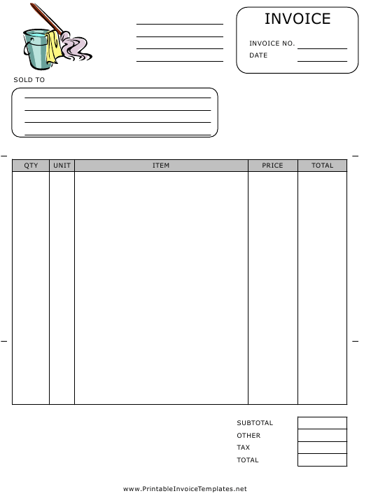 """""""Cleaner Invoice Template"""" Download Pdf"""