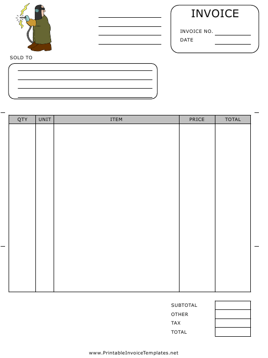"""""""Welding Invoice Template"""" Download Pdf"""