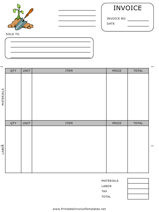 """""""Gardening Invoice Template"""" Download Pdf"""