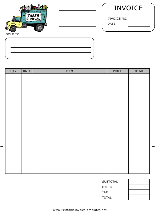 """""""Invoice Template With Trash Removal Truck"""" Download Pdf"""