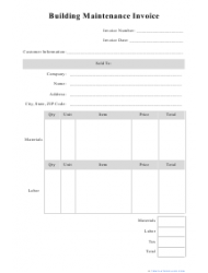 Building Maintenance Invoice Template