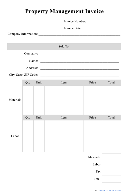 """""""Property Management Invoice Template"""" Download Pdf"""