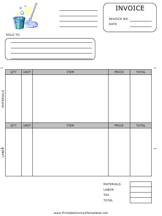 """Housekeeping Invoice Template"" Download Pdf"