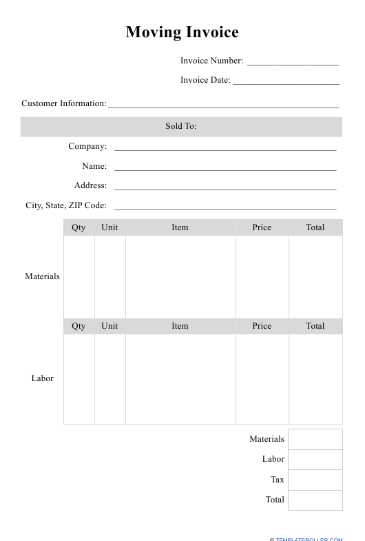 """""""Moving Invoice Template"""" Download Pdf"""