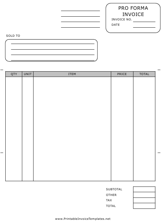 Pro Forma Invoice Template Download Pdf