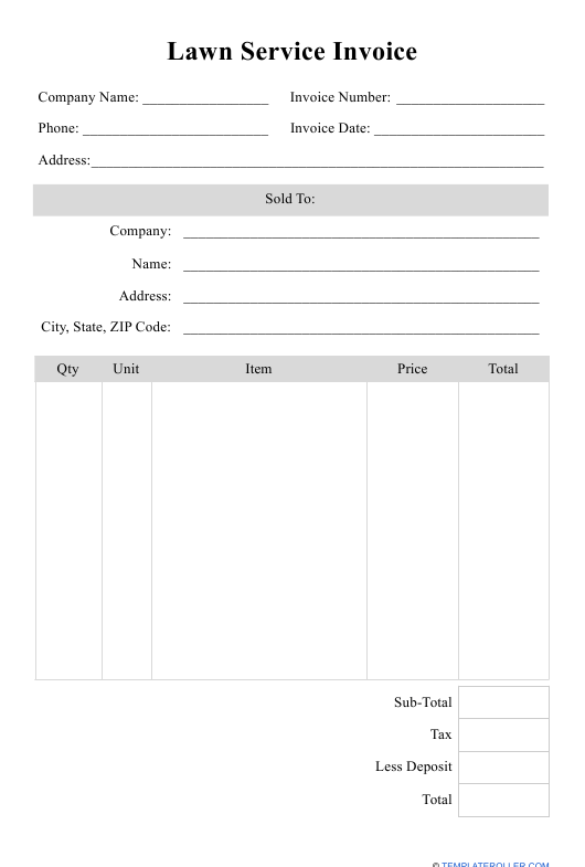 """Lawn Service Invoice Template"" Download Pdf"