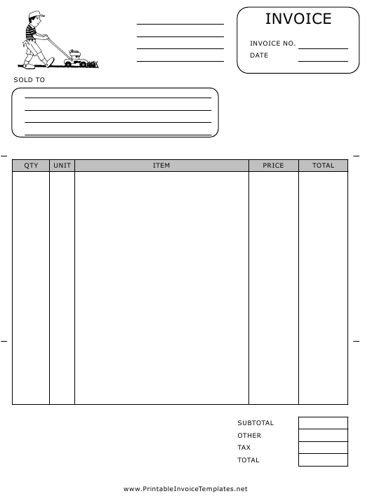 """Lawn Services Invoice Template"" Download Pdf"