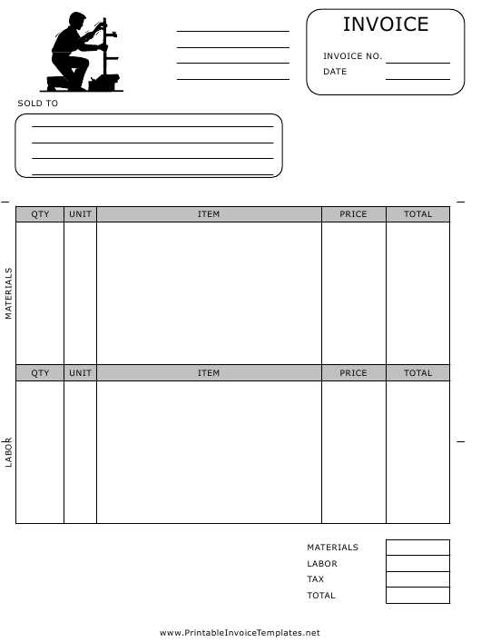 """Plumbing Contractor Invoice Template"" Download Pdf"