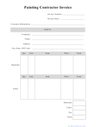 Painting Contractor Invoice Template