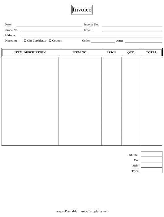 """Direct Sales Invoice Template"" Download Pdf"