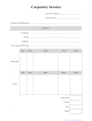 Carpentry Invoice Template