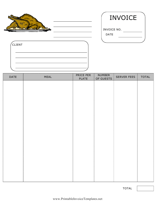 """Catering Invoice Template"" Download Pdf"