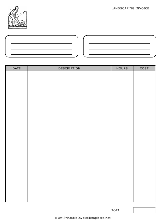 """""""Landscaping Invoice Template"""" Download Pdf"""