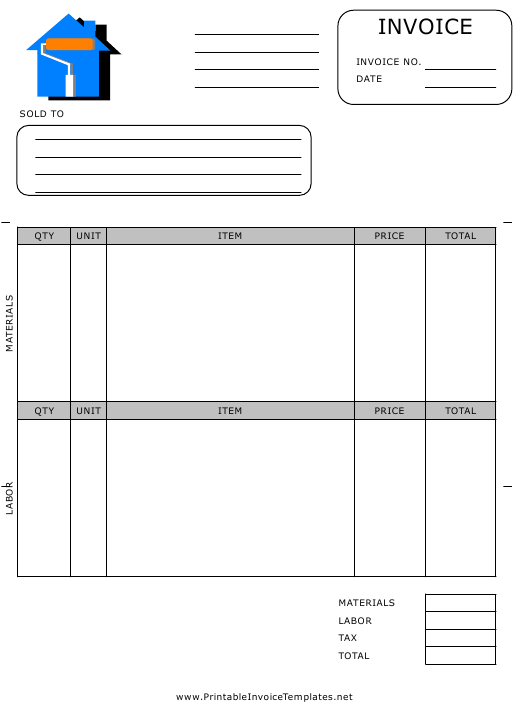 House Painting Invoice Template Download Printable PDF