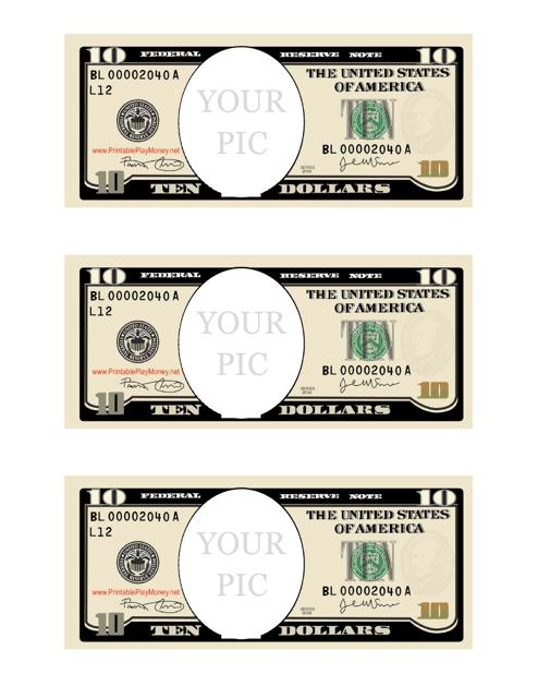 """Ten Dollar Bill Photo Frame Template"" Download Pdf"