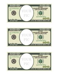 """One Hundred Dollar Bill Photo Frame Template"""