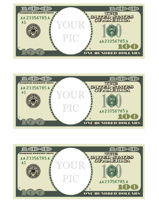 """""""One Hundred Dollar Bill Photo Frame Template"""" Download Pdf"""