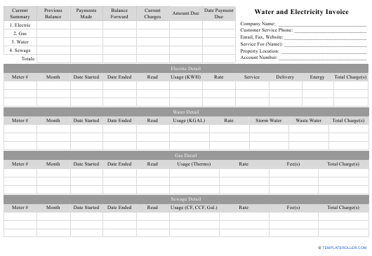 """""""Water and Electricity Invoice Template"""" Download Pdf"""