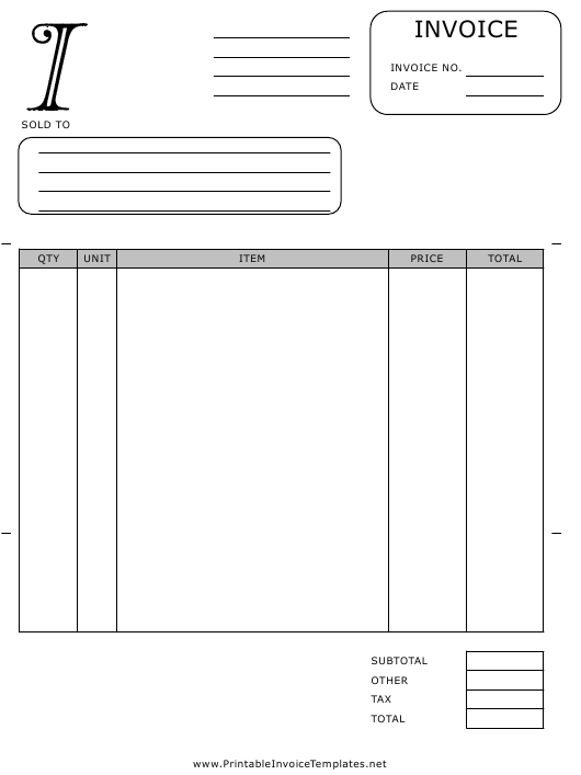 """Monogram I Invoice Template"" Download Pdf"