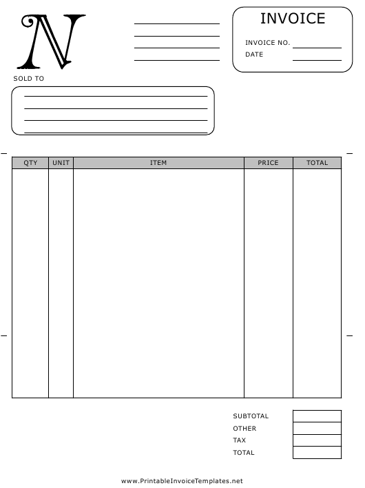 """Monogram N Invoice Template"" Download Pdf"