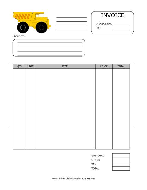 """Excavation Invoice Template"" Download Pdf"
