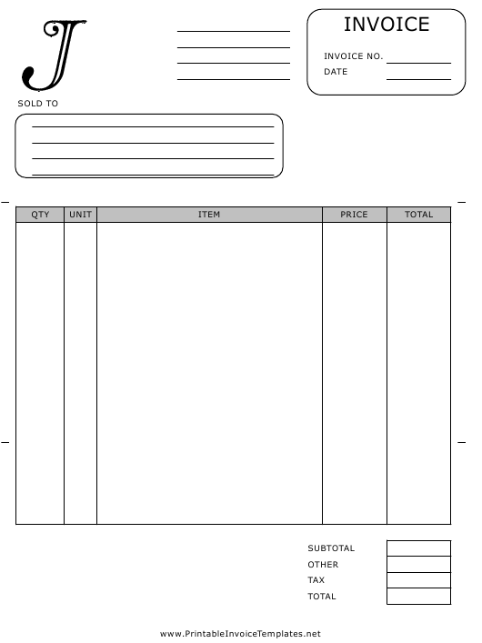 """Monogram J Invoice Template"" Download Pdf"