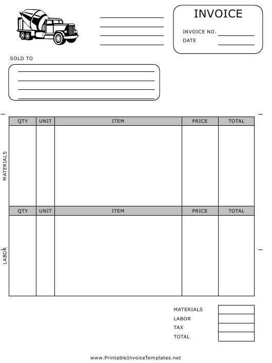"""""""Paving Invoice Template"""" Download Pdf"""