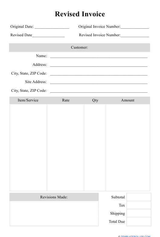 """Revised Invoice Template"" Download Pdf"