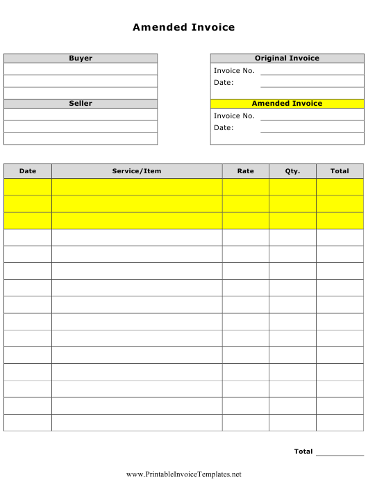 """Amended Invoice Template"" Download Pdf"