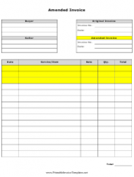 Amended Invoice Template