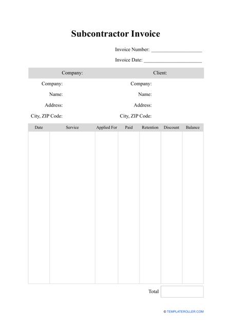 """Subcontractor Invoice Template"" Download Pdf"