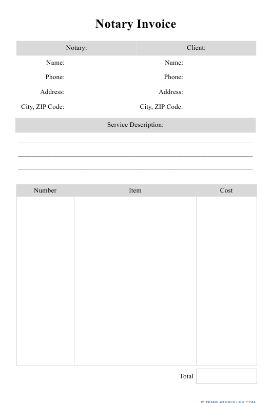 Notary Invoice Template Download Printable Pdf Templateroller