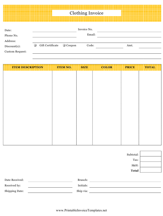 """""""Clothing Invoice Template"""" Download Pdf"""